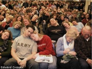 sleeping crowd